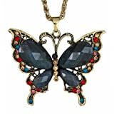 Delicate Butterfly Pendant Necklace with Large Black Glitter Wings and Blue, Red and Gold Ornaments