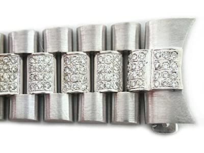 Mens 18kw President Watch Band with Diamonds for Rolex