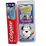 Fun Toothpaste Heads Pete the Dog Cap and Colgate Kids Toothpaste Bundle of 2 Items