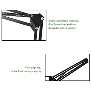 Luluhome Microphone Stand, MicrophoneHolder with Windscreen and Pop Filter Suspension Scissor Arm Stands for Studio Recording and Broadcasting (3Pieces) (Color: Black)