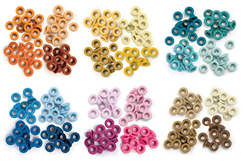 We R Memory Keepers - Standard Eyelets - Orange, Yellow, Aqua, Blue, Pink & Brown - 6 item Bundle (Big Bite Crop A Dile compare prices)