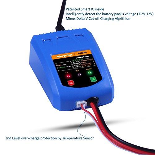 [CE Approved]Morpilot? Universal Smart 1A &2A fast Charger Perfect for 1-10s NiMH/NiCd Battery Packs| Compatible with Airsoft Packs and 1.2V 2.4V 3.6V 4.8V 6V 7.2V 8.4V 9.6V 10.8V 12V packs