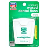 Rite Aid Floss, Dental, Waxed, Mint,100 yards