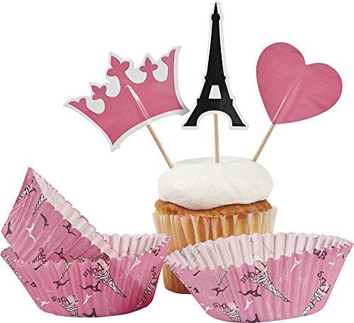 Paris Party Cupcake Cups w/ Picks (50 Pack)