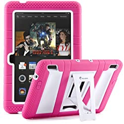 i-Blason Kindle Fire HDX 7 2013 Release (NOT COMPATIBLE WITH FIRE HD 7 2015) Kid Friendly ArmorBox 2 Layer Convertible Full Body Protective KickStand Case with Built-in Screen Protector (Pink/White)