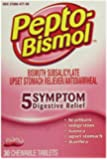 Pepto-Bismol Original Chewables 5 Symptom Relief, Including Upset Stomach & Diarrhea 30 Count (Pack of 4)