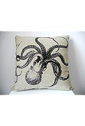 "HOSL Decorative Cotton Linen Square Throw Pillow Case Cushion Cover Throw Pillow Shell Pillowcase for Sofa Octopus 18 ""X18 """