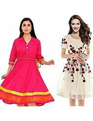 Sky Global Women's Regular Wear Kurti (Combo Pack Of 2)(SKY_KC_6002)(SKY_7001_Pink)(Sky_Kurti_7006_Off-White)