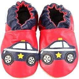 Robeez Soft Soles Police Car Slip On (Infant/Toddler),Red/Navy,6-12 Months (2.5-4 M US Infant)