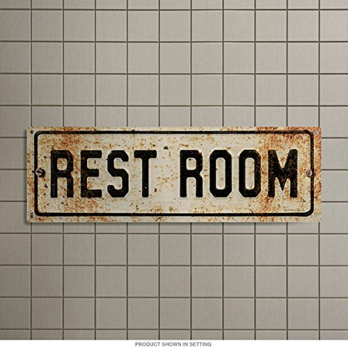 Restroom Embossed Look Rusted Bathroom Metal Sign Vintage Style 18 x 6