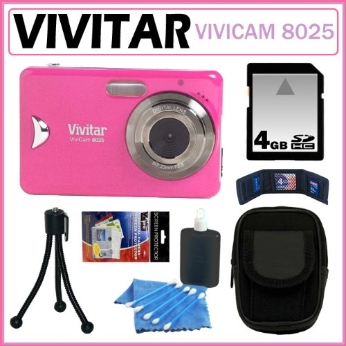 Vivitar ViviCam 8025 8.1MP Digital Camera with 8x Digital Zoom and 2.4-inch LCD in Pink + 4GB Kit