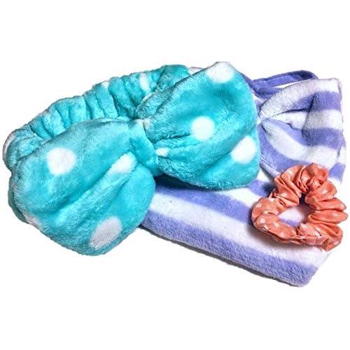 ふんわり大きな リボンの ヘアバンド 水色 ドット柄 バスタイムや洗顔に リボン付きタオルと手作りシュシュ 3点セット