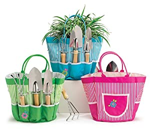 Groovy garden tools in pink nylon tool bag for Gardening tools gift set