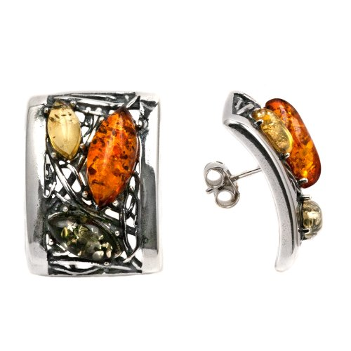Baltic Multicolored Amber Sterling Silver Antique Look Earrings
