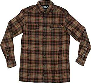 Volume 4 Drifter Brown Large Button Up Flannel Shirt