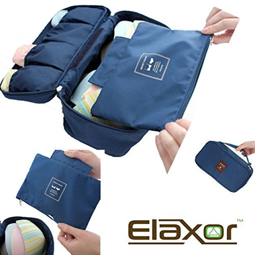 ElaxorTM Travel Multi Purpose Organizer / Underwear Pouch / Underwear Organizer / Multi-use Pockets Travel Bag Organizer / Cosmetic Travel organizer (Navy)