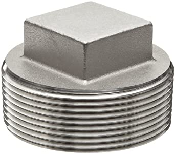 Stainless Steel 316 Cast Pipe Fitting, Square Head Cored Plug, Class 150, NPT Male