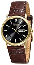 Men's watches special offers - Citizen Men's Eco-Drive Gold-Tone Leather Watch #BM8242-08E :  mens watch citizen