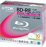 TDK 録画用ブルーレイディスク BD-RE 25GB 2倍速 ホワイトワイドプリンタブル 10枚パック BEV25PWA10K