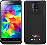 PowerBear® Samsung Galaxy S5 Rechargeable Battery Case - Black (Up to 125% More Battery Power) FREE Screen Protector Included
