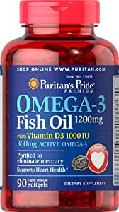 Puritan 39 s pride omega 3 fish oil 1200 mg plus for Fish oil vitamin d3