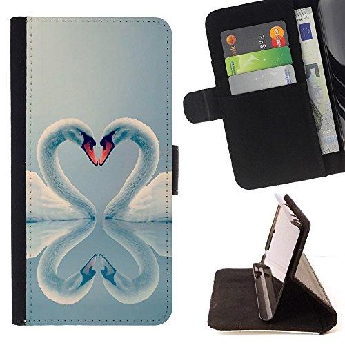 - swan love valentines heart birds aww - - PU Premium Custodia portafoglio in pelle con fessure per carta, contanti staccabile cinturino da pol Funny HouseFOR Samsung Galaxy Note 4 IV