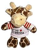 Jirafa de peluche (llavero) con Amo Bryssa en la camiseta (nombre de pila/apellido/apodo)