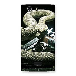 Stylish Gun And Rattle Snake Back Case Cover for Canvas Nitro 2 E311