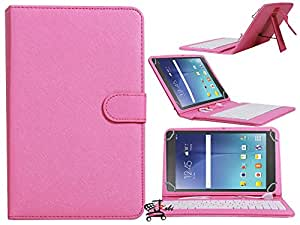 Premium Fit Front & Back Synthetic Leather Finished Keyboard Tablet Flip Case Holder Cover For Lenovo Tab 2 A7 10 (Universal ) -Pink