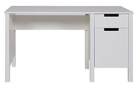 Bureau en pin blanc brossé, H 75 x L 140 x P 60 cm - PEGANE -