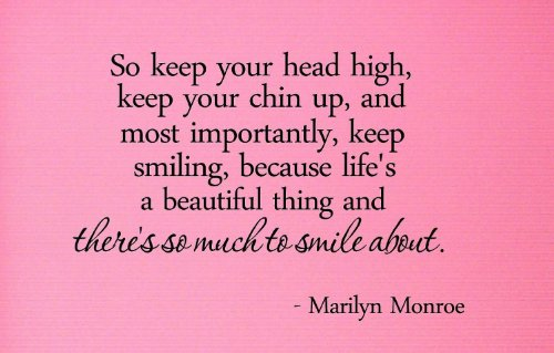 So Keep Your Head High, Keep Your Chin Up, And Most Importantly, Keep Smiling, Because Life'S A Beautiful Thing And There'S So Much To Smile About. Marilyn Monroe Vinyl Wall Art Inspirational Quotes And Saying Home Decor Decal Sticker front-559683
