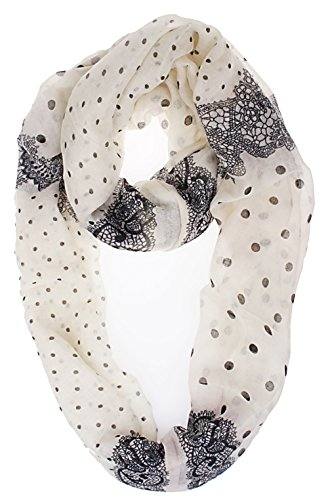 Vivian & Vincent Soft Light Weight Lace Polka Dot Sheer Infinity Scarf Ivory White
