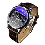 Bestpriceam Men's Luxury Fashion Blue Ray Glass Analog Quartz Brown Watch
