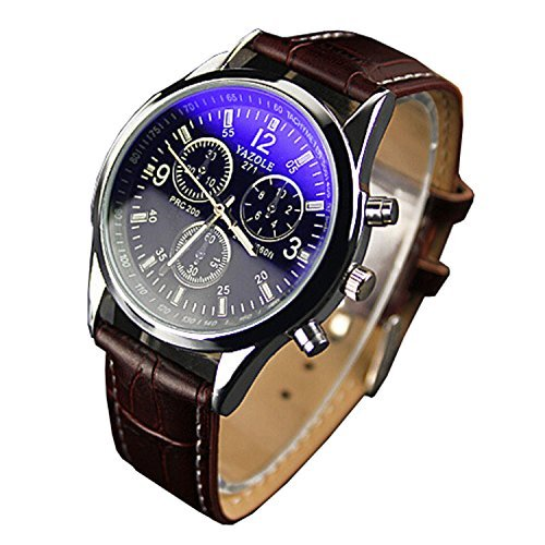 Bestpriceam-Mens-Luxury-Fashion-Blue-Ray-Glass-Analog-Quartz-Brown-Watch