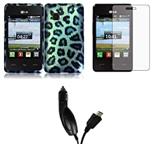 LG 840G - Accessory Combo Kit - Snow Leopard Design Shield Case + Atom LED Keychain Light + Screen Protector + Micro USB Car Charger