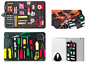 Grid Pad - Electronics Cosmetics Tool Organizer Bag Pouch for ipad iphone Tablet Accessories with Non Slip Elastic Crisscrossing Straps