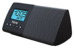 iHome Compact Dual Alarm Clock Speaker System with Large Easy to Read Backlit Display