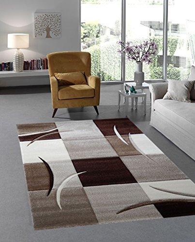 Designer Moderner Teppich Wohnzimmer Kurzflor Braun Beige (120×170 ...