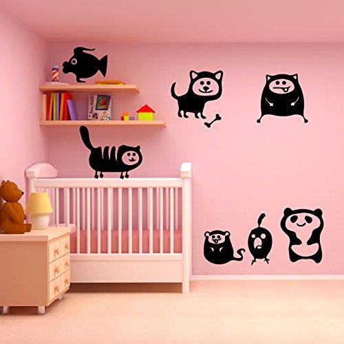 carino-animali-del-fumetto-set-wall-sticker-fumetto-adesivo-art-disponibile-in-5-dimensioni-e-25-col