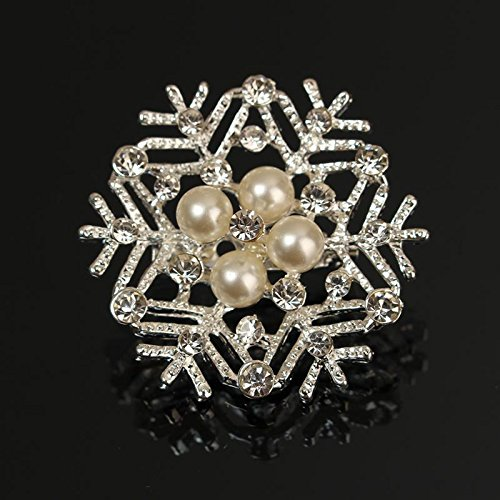 Christmas Female Woman Coat Hat Gift Vintage Pearl Crystal Snowflake Brooches Pin Wedding Party Jewelry Ornaments White (Conair Hat Hair Dryer compare prices)