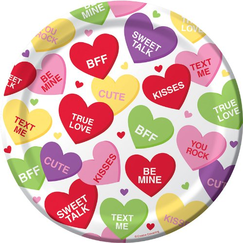 Creative Converting Valentine Candy Hearts Themed Round Dinner Plates, 8 Per Package