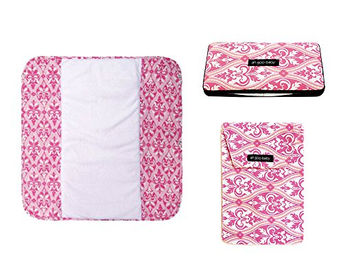 Set of the Plush Pad, Diaper Pouch and the Wipes Case, Charleston Design