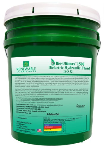 Renewable Lubricants Bio-Ultimax 1500 ISO 32 Dielectric Hydraulic Fluid, 5 Gallon Pail