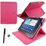 "Rose Pink PU Leather Case Cover Stand for ARCHOS 101 NEON & XENON 10.1"" inch Tablet PC + Stylus Pen"