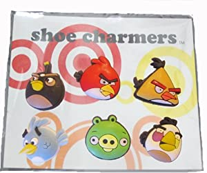 Angry Birds and Pig Set of Shoe Charms 6 pc Set