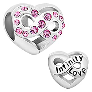 charm en forme de coeur pour bijou de type pandora avec motif en anglais infinity love avec. Black Bedroom Furniture Sets. Home Design Ideas