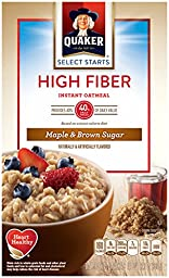 Quaker Instant Oatmeal, High Fiber, Select Starts, Maple Brown Sugar, Breakfast Cereal,1.58oz-8 Packets Per Box (Pack of 4)