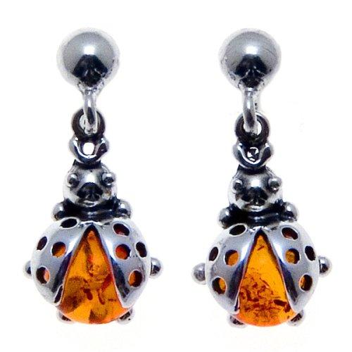 Certified Genuine Honey Amber and Sterling Silver Ladybug Earrings