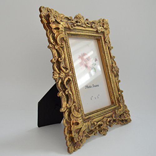 Gift Garden Friends Gift Gold Vintage Picture Frame 4 by 6 -Inch in hand Painted for Photo Display 4x6 2