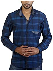 Repique Men's Botton Front Cotton Shirt(Seb-118,Blue,Medium)